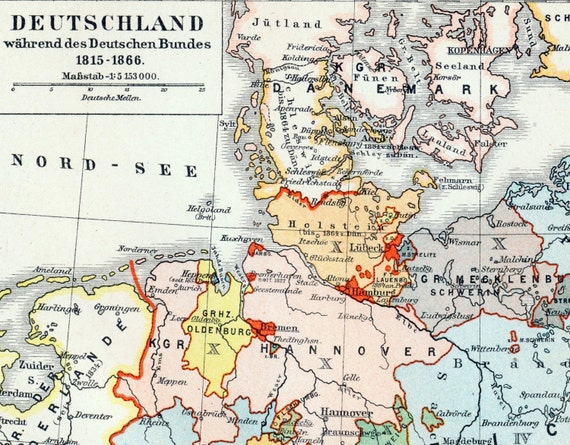 Map Of Deutschland Germany.1895 German Vintage Map Of Germany During The German Confederation 1815 1866 Historical Map Vintage Germany Map
