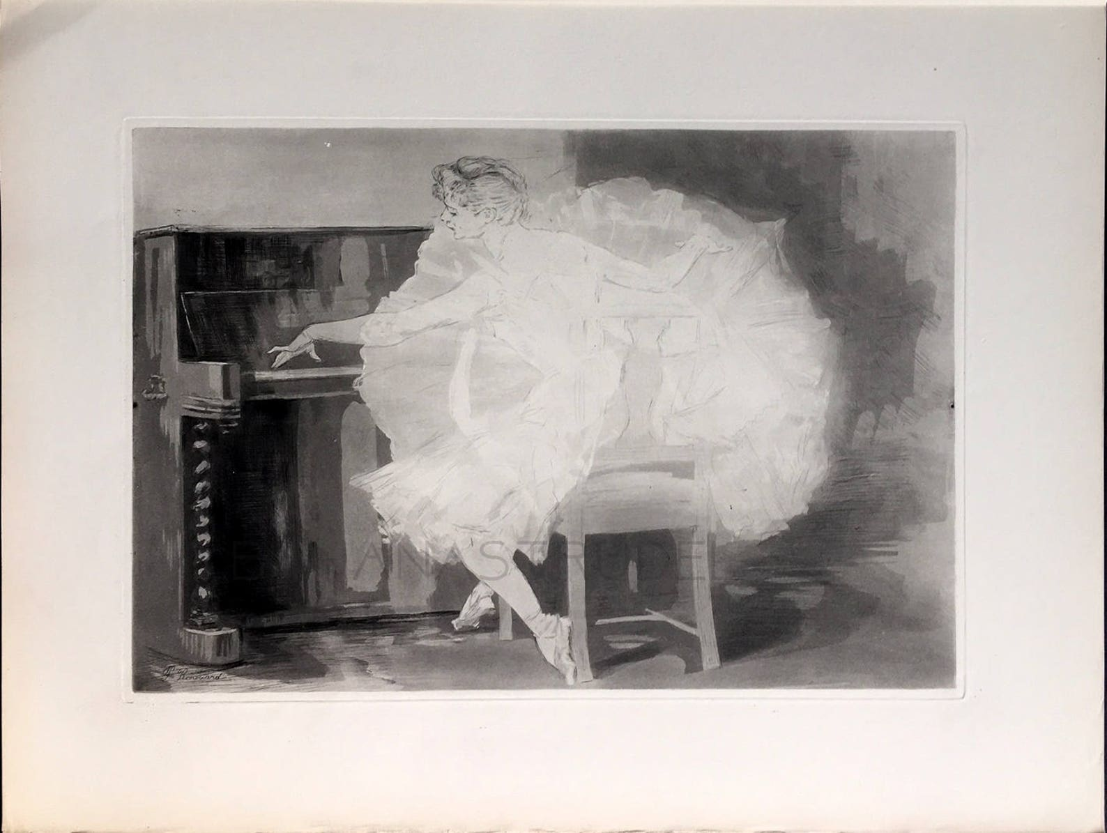 1895 rare antique etching / aquatint – between rehearsals – ballet / paul renouard. signed in the plate.