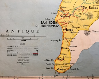 1959 Large Vintage Map of Antique Province, the Philippines