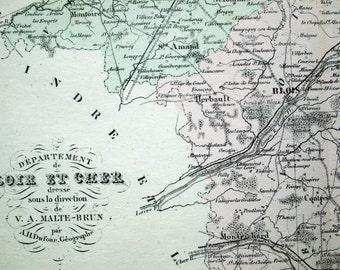 1800s Antique Map of Loir-et-Cher, France - Inset of Blois - French map - Hand-coloured map - Loir-et-Cher Antique Map