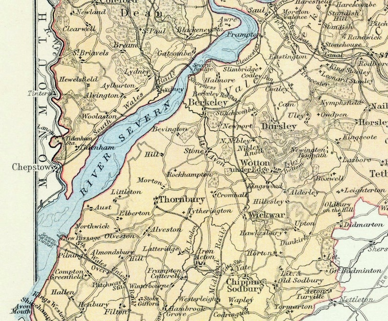 Map Of Uk Gloucester.1880 Antique Map Of Gloucester Uk