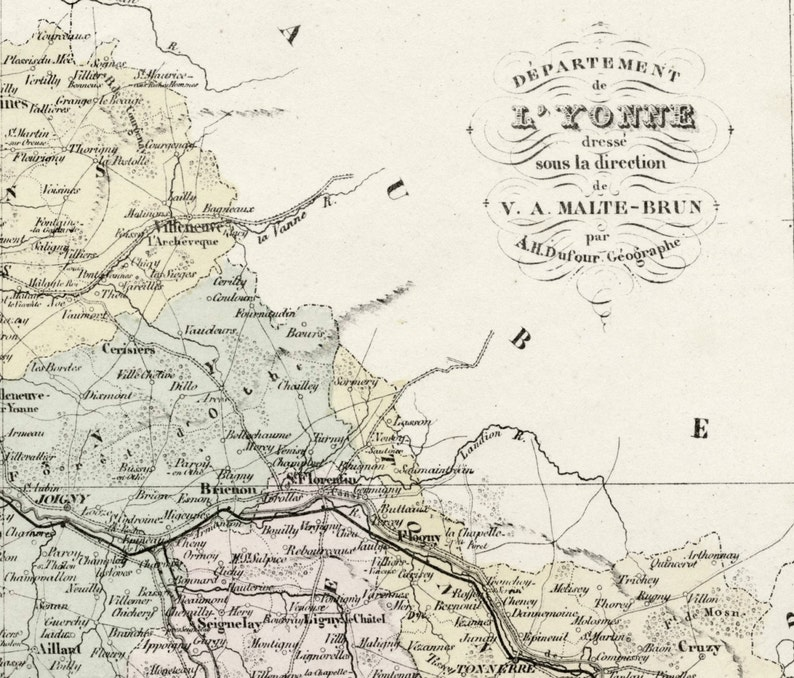 Map Of Yonne France.Antique Map Of Yonne France With Inset Of Auxerre Etsy