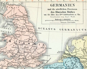 1895 Antique Map of Germania and the Northern Provinces of the Roman Empire - Roman Empire Antique Map - German map