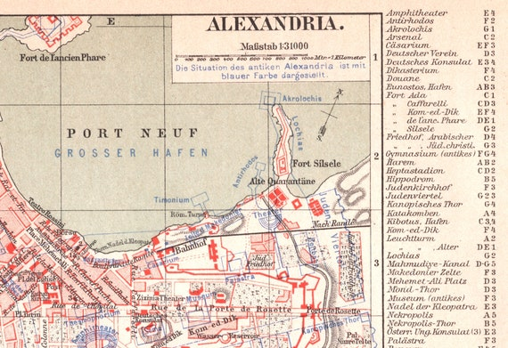 1895 Vintage Map Of Alexandria Egypt Old Street Map Of Etsy