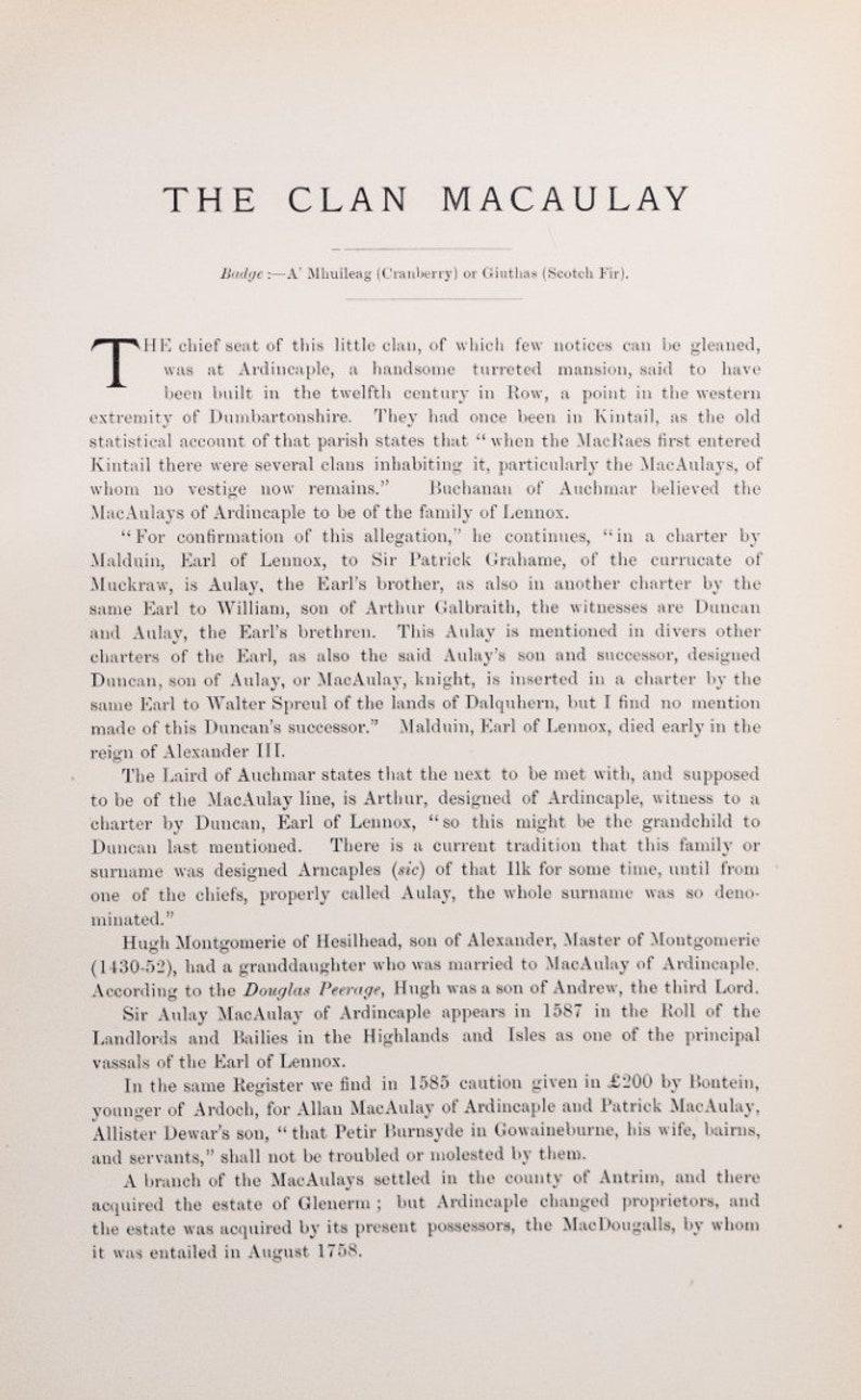 LDN 1906 Antique Scottish Tartan Print of Clan Macauley Clans and Septs of Scotland Set of 2 Tartan Prints