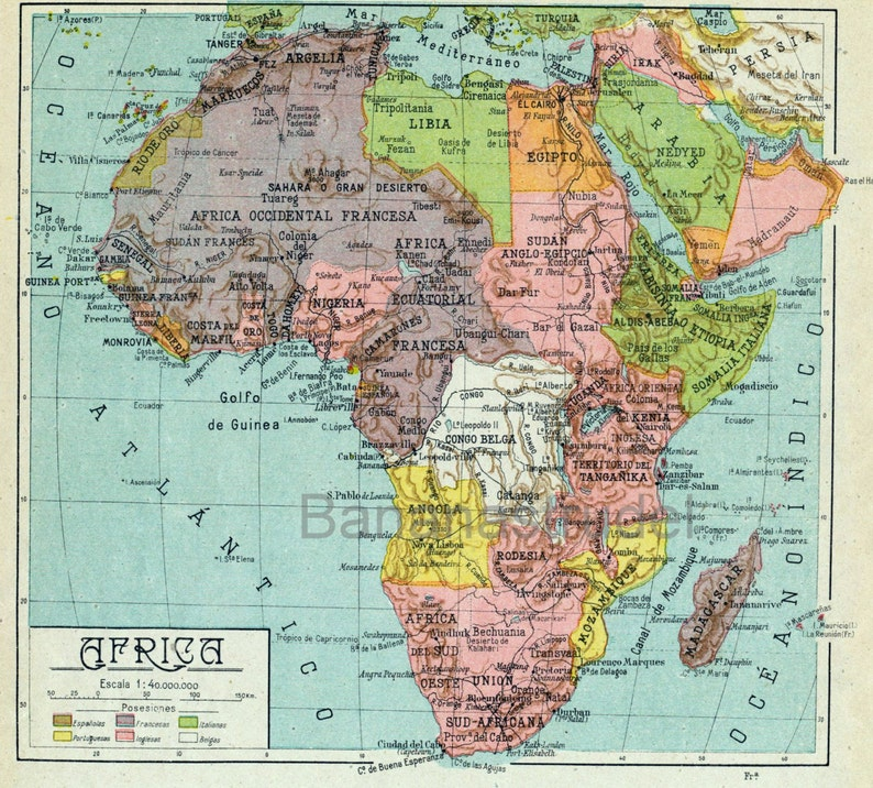Full Map Of Spain.1940 Vintage Map Of Africa Africa Vintage Map Spanish Map