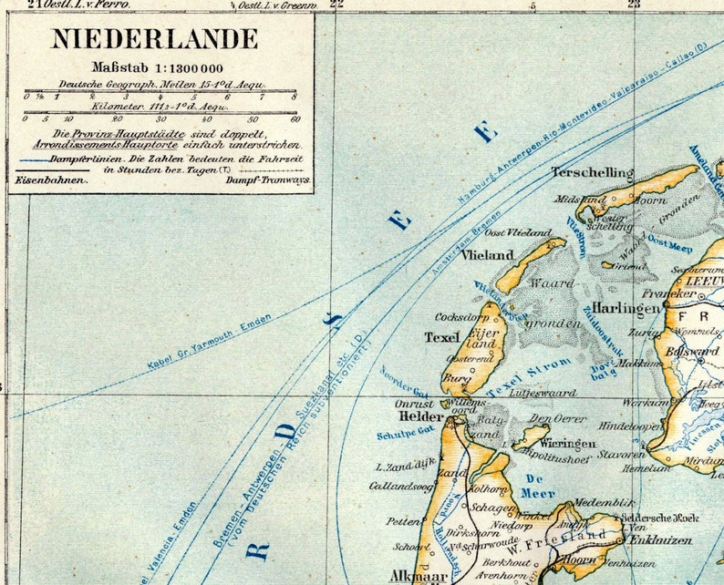 Map Of The Netherlands And Germany.1895 German Antique Map Of The Netherlands