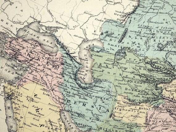 Landkarte Asien.1880 Antike Karte Von Asien Antike Asien Landkarte Handgefarbte Karte Selten Grosse Karte Exquisite Karte