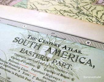 1902 Antique Map of the Eastern Part of South America - Vintage South America Map (Eastern) - Century Atlas