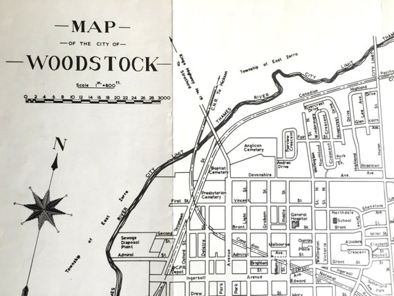 1960 vintage black and white map of woodstock ontario reheart Images