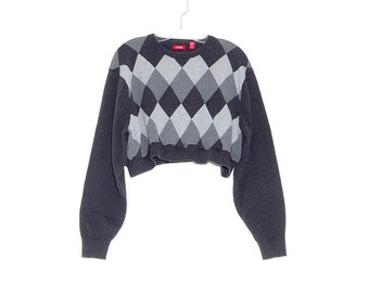804cec164180c9 vintage 90s CROPPED SWEATER 90s crop top plaid argyle sweater CLUELESS  sweater back to school oversized skater grunge jumper 90s clothing