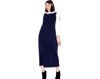 35535ef0 THE COVEN DRESS vintage 90s dress pilgrim vibes square neckline waffle  texture navy blue fabric maxi dress 90s dress wiggle body con dress