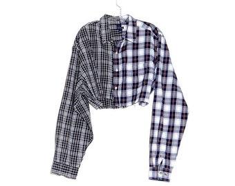 a34a2a4f73a 90s SPLIT FLANNEL plaid shirt contrast two toned 90s grunge crop top  cropped shirt oversized boyfriend skater shirt blouse frayed raw hem