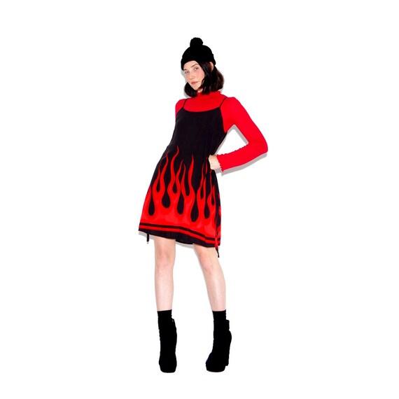 90s Flame Dress Flame Print Dress Strappy 90s Dress Mini Dress Rayon Dress 90s Grunge 90s Clothing Cyber Goth Kawaii Rave Club Kid Xs Small by Etsy