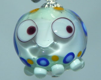 Squeedle Charm Lampwork Green Blue Yellow Transparent Octopus Cute Character Diabetes Ocean Sealife Fun
