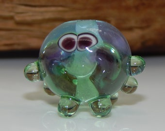Squeedle Charm Clip Lampwork Blue Green Purple Octopus Cute Character Diabetes Ocean Sealife Fun