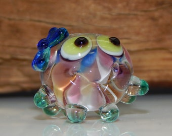 Squeedle Charm Clip Lampwork Pink Blue Yellow Teal Transparent Octopus Cute Character Diabetes Ocean Sealife Fun