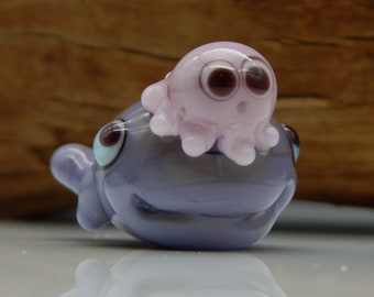 Squeedle Charm Lampwork Pink Purple Octopus Whale Cute Character Diabetes Ocean Miniature Sealife Fun