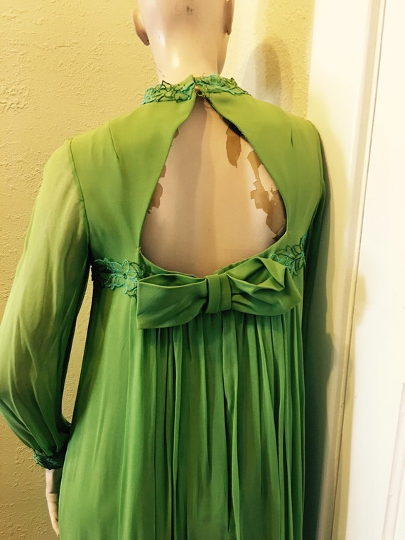 Grass green chiffon formal gown