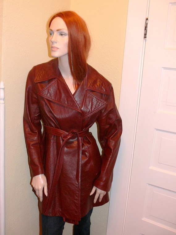 seventies mahogany leather jacket with belt