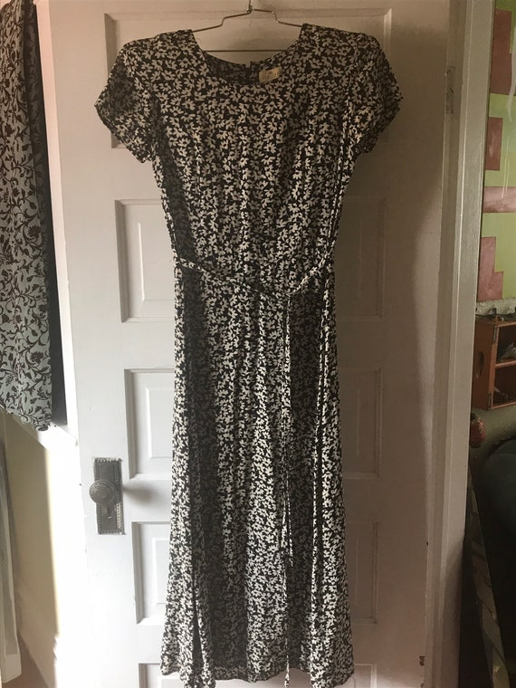 1990s vintage black and white maxi grunge dress