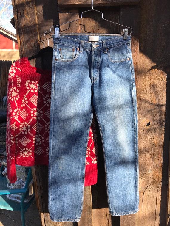 1990s High Waist Mom Jeans 26 Waist Stark White Denim HIgh Waisted Jeans 80s 1980s 1990s Vintage Denim