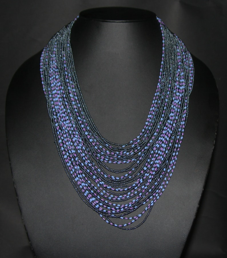 Steel Blue Handcrafted South Africa Multistrand Necklace African Modern Multi-strand Powder Blue Pink