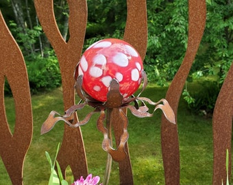 """SHIP Now Garden Glass Ball - GARDEN Stake - Metal Steel Enclosure - Red with White Speck - FF - 26"""" stake"""