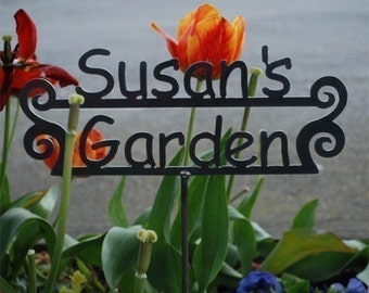 GREAT Mothers Day - Fathers Day Gift - Birthday Gift - Garden Gift - Custom Metal Garden Sign with Name Personalized - 17 Designs -Customize