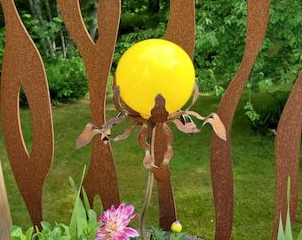 "SHIP Now Garden Glass Ball - GARDEN Stake - Metal Steel Enclosure - Yellow Tones - NN - 26"" stake"