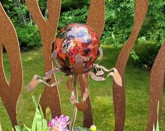 "SHIP Now Garden Glass Ball - GARDEN Stake - Metal Steel Enclosure - Red Multi - HH - 26"" stake"