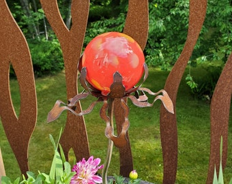 """SHIP Now Garden Glass Ball - GARDEN Stake - Metal Steel Enclosure - Red with yellow speck - II - 26"""" stake"""