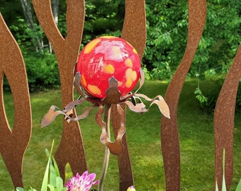 """SHIP Now Garden Glass Ball - GARDEN Stake - Metal Steel Enclosure - Red with Yellow Flecks - LL - 26"""" stake"""