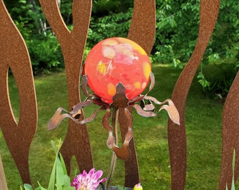 """SHIP Now Garden Glass Ball - GARDEN Stake - Metal Steel Enclosure - Yellow and Red Tones - OO - 26"""" stake"""