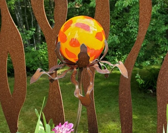 """SHIP Now Garden Glass Ball - GARDEN Stake - Metal Steel Enclosure - Yellow with Red Speck - DD - 26"""" stake"""