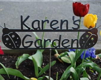 GREAT Mothers Day - Birthday Gift - Garden Gift - Custom Metal Garden Sign Name Personalized - 17 Designs -Customize Choose Your Bottom Word