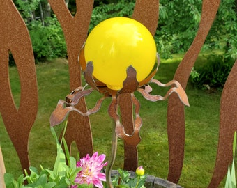 "SHIP Now Garden Glass Ball - GARDEN Stake - Metal Steel Enclosure - Yellow Speckle - BB - 26"" stake"