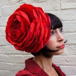 Giant recycled vintage red satin rose flower headpiece wedding