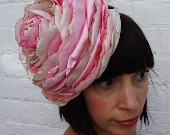 Giant wedding flower headband, pale pink vintage recycled ivory silk and satin.