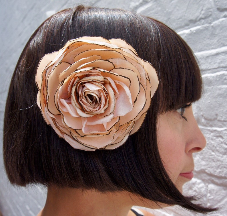 Peach vintage fabric rose corsage hair flower image 0