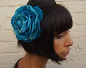 Turquoise flower headband recycled vintage satin, with black feather wing