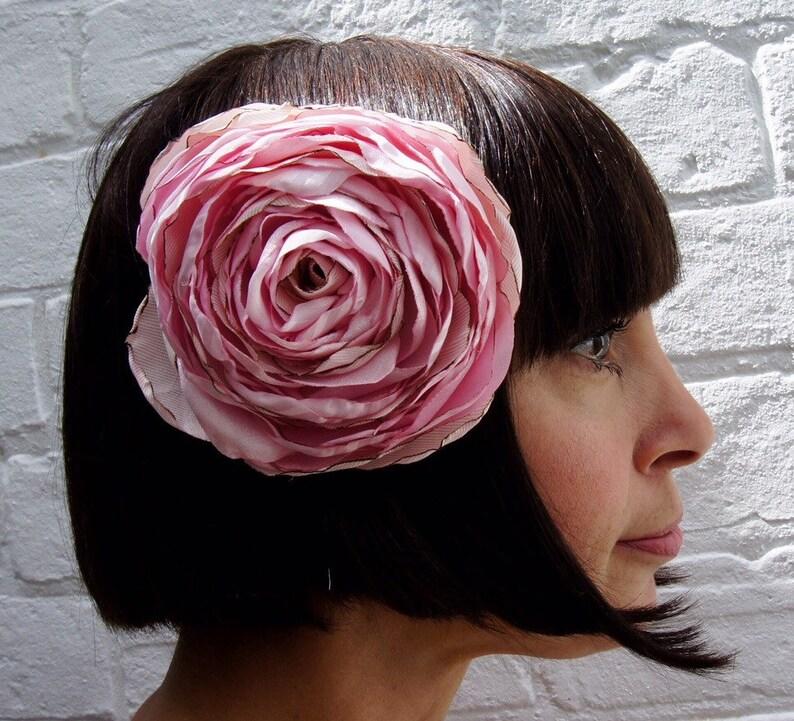 Pastel pale pink recycled satin rose hair flower fascinator image 0