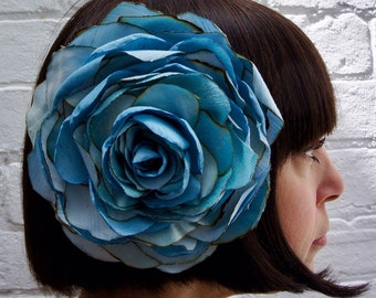 Blue silk flower hair clip flower, for wedding, bride or mother of the bride, recycled silk satin