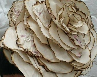 Giant wedding silk flower headband, cream with pearl embellishments recycled