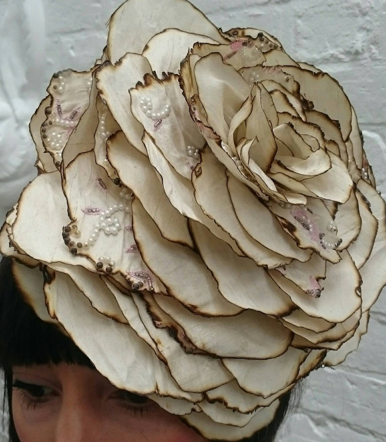 Giant wedding silk flower headband cream with pearl image 0