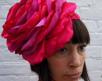 Giant pink rose flower headband, perfect for a wedding