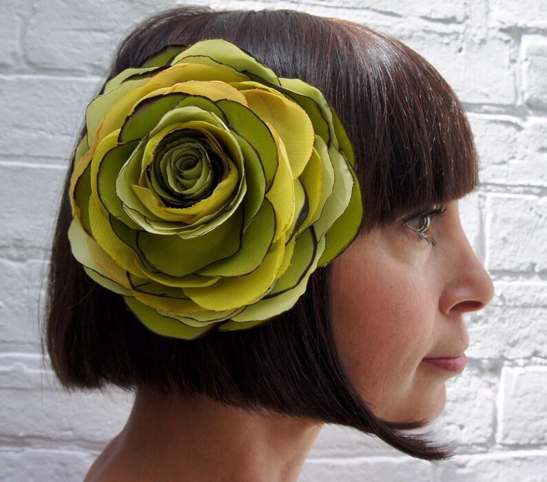 Lime green recycled satin organza rose hair flower fascinator image 0