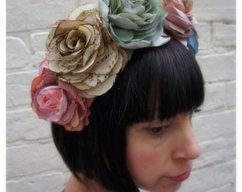 Custom order. Vintage silk and recycled fabric rose crown garland wedding headpiece