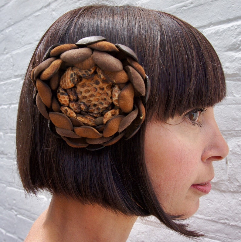 Chocolate brown recycled vintage leather and vintage snake image 0