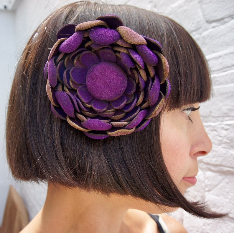 Deep purple recycled vintage leather hair flower clip corsage image 0
